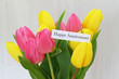 Happy Anniversary card with colorful tulips