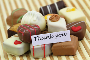 Thank you card with assorted chocolates