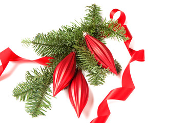 Christmas decoration with curled ribbon and ornaments