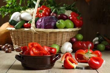 verdure peperoni rossi in aceto