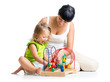 kid girl and mother playing with color educational toy