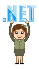 Girl Holding Dot Net Text - Cartoon Vector