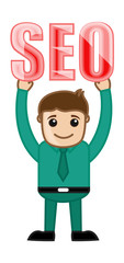 Man Holding SEO Text - Cartoon Vector