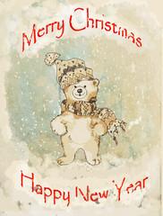 Bear Christmas vintage greeting card