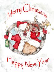 Santa and Deer  Christmas vintage greeting card
