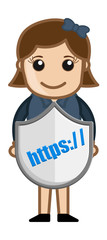 Secure HTTPS Shield - Cartoon Vector