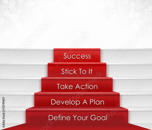Spoed canvasdoek 2cm dik Trappen Steps To Success