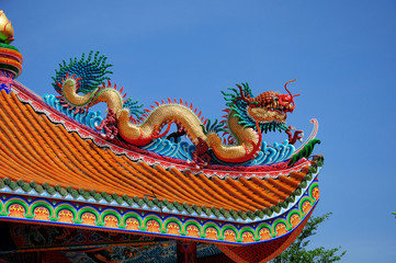 Dragon sculpture chinese style on roof Chinese temple