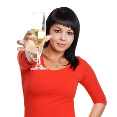 Prosit Neujahr - Frau mit Sektglas