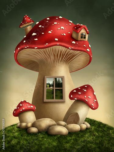 Leinwandbild Motiv Fantasy mushroom house