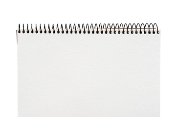 close up of a blank white notebook on white background