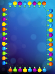 Colourful Glowing Christmas Lights Frame. Vector illustration