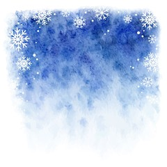 winter watercolor background. falling snowflakes