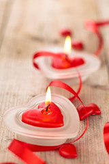 Heart shaped candles .