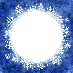 winter watercolor illustration. round frame