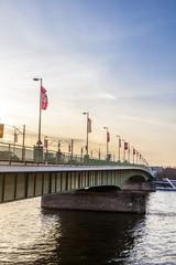 Bridge in Cologne in sunset light