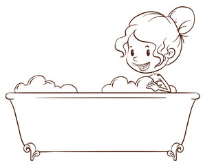 A simple sketch of a girl at the bathtub