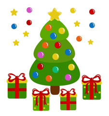 Decorated Christmas tree and presents - vector illustration