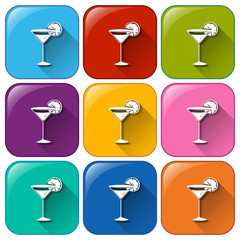 Rounded buttons with cocktail drinks