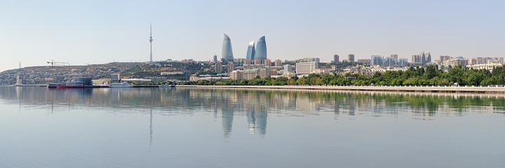 Panorama of Baku from Caspian Sea, Azerbaijan