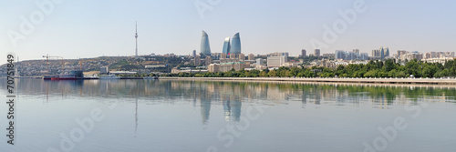 Fotobehang Stad aan het water Panorama of Baku from Caspian Sea, Azerbaijan