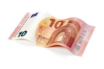 Neuer 10 Euro Schein isoliert mit Pfad