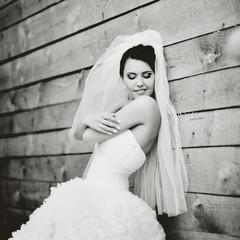 Gorgeous beautiful brunette  bride.