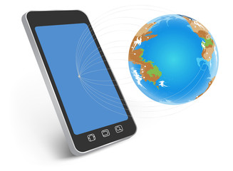 All network worldwide on smartphone technology background