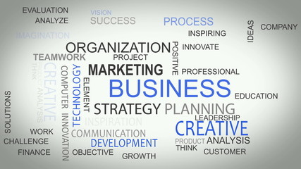 Business strategy online develop solutions word tag cloud