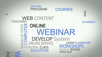 Webinar online develop solutions word tag cloud animation