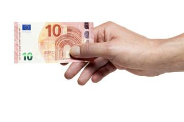 Hand hält neuen 10 Euro Schein isoliert