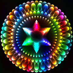 Star of David in the flower, art background
