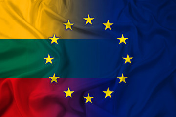 Waving Lithuania and European Union Flag