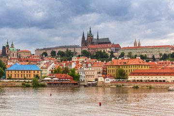 Old town of Prague with castle at Vltava river, Czech Republic