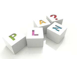 Plan 3d word-white cubes