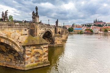 Historic Charles Bridge in Prague, Czech Republic