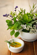 Fresh rosemary in olive oil and herb bouquet