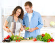 Happy Couple Cooking Together. Vegetable Salad. Dieting
