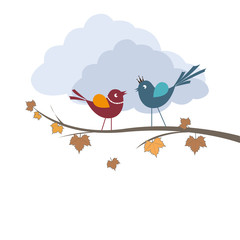 autumn branches and cute birds in love