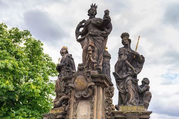 Statues on Charles Bridge in Prague, Czech Republic