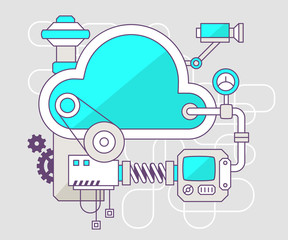 Vector industrial illustration of the mechanism of cloud. Color