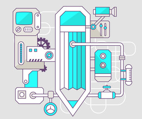 Vector industrial illustration of the mechanism of pencil. Color