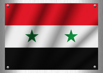 Syria flag patterns on the steel plate.