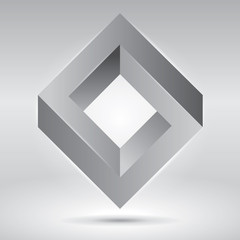 Impossible figure, vector rhombus, abstract unreal objects