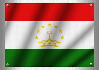 Tajikistan flag patterns on the steel plate.