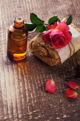 Spa setting. Natural handmade soap and aroma oil.