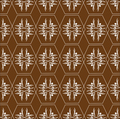 Pattern of hexagons (white on brown)