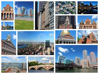 Boston collage - travel photo collage set