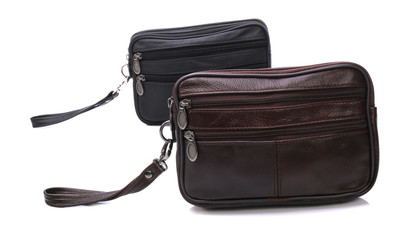 Men's leather bags on a white background