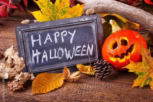canvas print picture Halloween Dekoration mit Kürbis und Schild